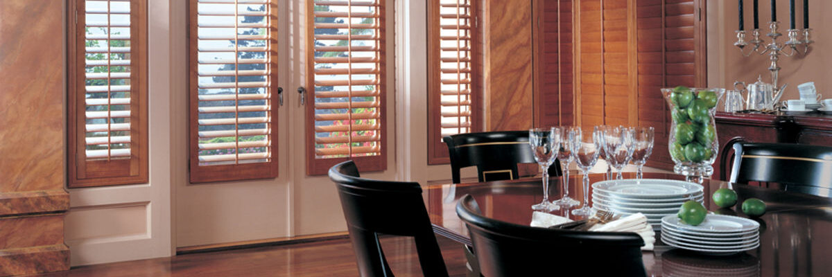 Beautiful plantation shutters in a dining room, call us for shutters in Nashville, TN, Brentwood, TN and Franklin, TN!