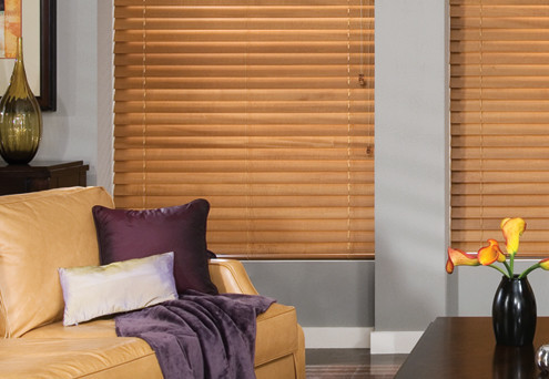 Blinds in a living room, window coverings in Nashville, TN, Franklin and Brentwood, TN at Blinds & Designs.